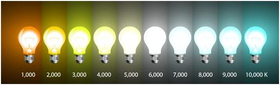 bombillas led de diferentes tonos